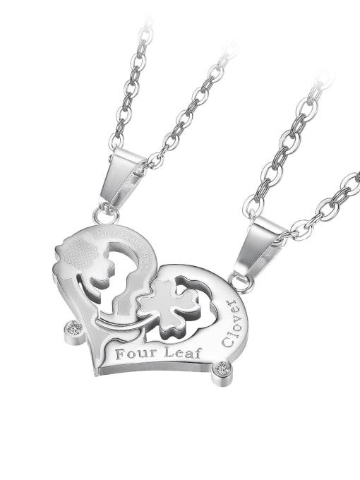 1937 [steel color single pendant] Titanium Steel Heart Hip Hop Necklace